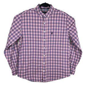 Johnnie-O Pink Plaid Long Sleeve Button Shirt L